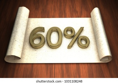 60 per cent, golden numbers, over open paper, 3d rendering
