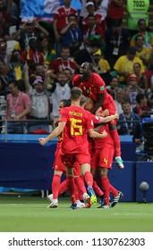 6.07.2018. KAZAN, Russia: BELGIUM PLAYER CELEBRATE GOL IN the Round-8 Fifa World Cup Russia 2018 football match between BRAZIL V BELGIUM in ARENA KAZAN.