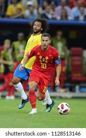 6.07.2018. KAZAN, Russia: Eden Hazard in action during the Round-8 Fifa World Cup Russia 2018 football match between BRAZIL V BELGIUM in Spartak Stadium.