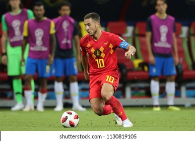 6.07.2018. KAZAN, Russia: Eden Hazard,  in action during the Round-8 Fifa World Cup Russia 2018 football match between BRAZIL V BELGIUM in ARENA KAZAN.