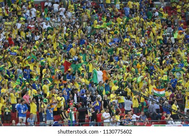 6.07.2018. KAZAN, Russia: Torcida Brazil fans on the stands  during the Round-8 Fifa World Cup Russia 2018 football match between BRAZIL V BELGIUM in Spartak Stadium.