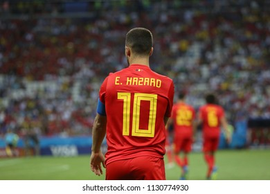 6.07.2018. KAZAN, Russia:Eden Hazard  in action during the Round-8 Fifa World Cup Russia 2018 football match between BRAZIL V BELGIUM in Spartak Stadium.