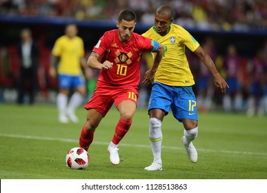 6.07.2018. KAZAN, Russia:Eden Hazard, FERNANDINHO  in action during the Round-8 Fifa World Cup Russia 2018 football match between BRAZIL V BELGIUM in Spartak Stadium.