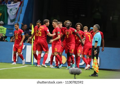 6.07.2018. KAZAN, Russia:Kevin De Bruyne SCORE THE GOL  during the Round-8 Fifa World Cup Russia 2018 football match between BRAZIL V BELGIUM in KAZAN ARENA.