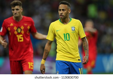 6.07.2018. KAZAN, Russia:NEYMAR, in action during the Round-8 Fifa World Cup Russia 2018 football match between BRAZIL V BELGIUM in ARENA KAZAN.
