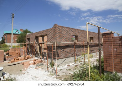 "6.08.2017 Russia, Togliatti. Suburban settlement ""Podstepki"" Unfinished house"