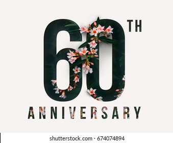 60th Anniversary celebrate illustration design by Real flowers with precious paper cut . For your unique anniversary background, invitation, card, birthday, celebration party of the years anniversary