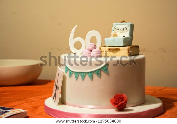 Super 60Th Birthday Cake Travel Theme Stock Photo Edit Now 1295054080 Funny Birthday Cards Online Alyptdamsfinfo
