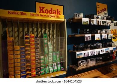 618 Shanghai Street, Mong Kok, Hong Kong - 10 May 2020: Capture the view of the films of Kodak displaying at the store