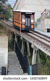 """6-18-2019 Los Angeles, California: People gather around and ride the """"Angels Flight"""" Trolley Car in Los Angeles California. Angels Flight was built in 1901 and still runs today. Editorial use only."""