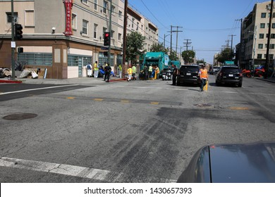 6-18-2019 Los Angeles, California: Police and Government Agencies clean up and remove excess trash and refuse from a homeless encampment in Down Town Los Angeles California. Editorial Use Only.