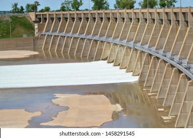 6-18-2019  Riverdale, rural McClean county of North Dakota. Water is released through spillway gates at Garrison dam to regulate water level of lake Sakakawea.