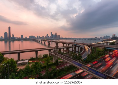 63 Building and hangang river best view landmark and traffic  in Seoul,South Korea