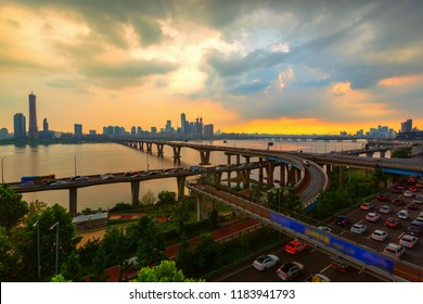 63 building and hangang river best view landmark and traffic on evening time in Seoul,South Korea