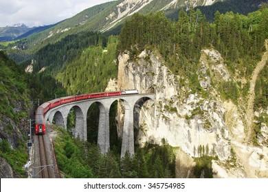 65 metre high Landwasser Viaduct with train at Filisur, Switzerland