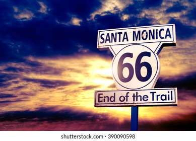66 historic route sign at sunset