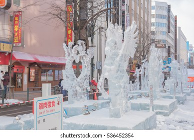 The 67th Sapporo Snow Festival, February 5  to 11, 2016 :  Susukino Ice World 2016 at Susukino Site site in Ekimae-dori, Sapporo, Hokkaido, japan.