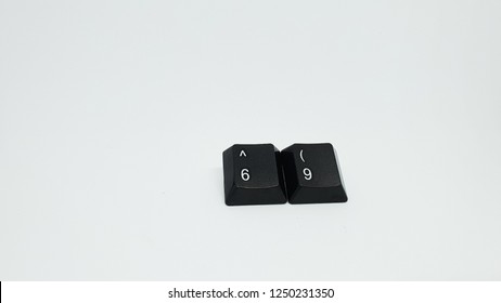 69 computers keyboard isolated on white background studio image