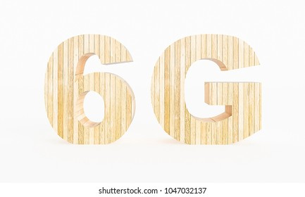 6G symbol made with wood on a white background. 3d Rendering.
