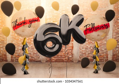 6k or 6000 followers thank you with brilliant Balloons background. For your Celebration and Appreciation for social Network friends, Web user Thank you or celebrate of subscriber, follower, like