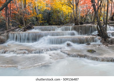 6th floor,Huay Mae Kamin Waterfall, beautiful waterfall in autumn forest, Kanchanaburi province, Thailand,concepts idea ice and autumn