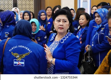The 6th Indonesian First Lady Ani Yudhoyono in the debriefing of Indonesian Democratic Party candidates at The Sultan Hotel Ballroom, Central Jakarta, Indonesia. Sunday (11/11/2018)