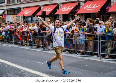 6th London 2019 - London, UK - An eccentric man running solo down Regent Street as part of the London 2019 Pride Festival and Parade