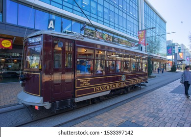 6th October 2019,Christchurch,New Zealand.Tram in the middle of Christchurch city.Public transportation.
