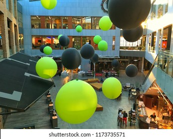 6th September 2018. Finland, Espoo. Shopping mall with big balloons hanging from roof.