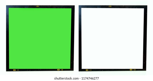 6x6 dia film frame on white or green, place your picture here