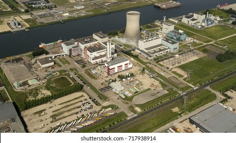 7 August 2017, Moerdijk, Holland. Aerial view of industrial area with Attero incinerator and Essent power plant.