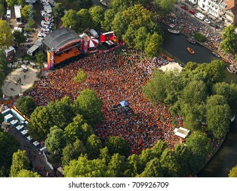 7 August 2017, Utrecht, Holland. Aerial view of park Lepelenburg during a homage party for the Dutch Woman Soccer Team after winning the final of Euro 2017. A huge orange coloured crowd is downtown.