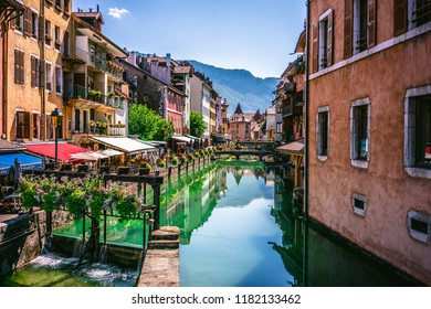 7 August 2018, Annecy France : Annecy old town cityscape and Thiou river view and bridge