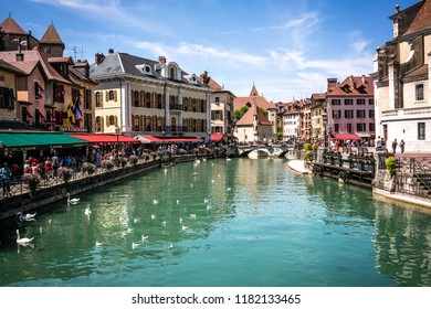 7 August 2018, Annecy France : Annecy cityscape wih Thiou river view bridge and palais de l isle in bakcground
