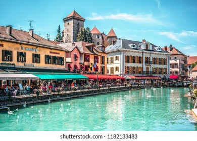 7 August 2018, Annecy France : Thiou Riverside and street view full of tourists in Annecy HDR