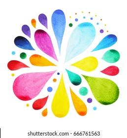 7 color of chakra mandala symbol concept, flower floral, watercolor painting hand drawn icon, illustration design sign, rain water drop splash