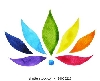 7 color of chakra sign symbol, colorful lotus flower, watercolor painting hand drawn, illustration design