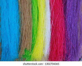 7 color dried Thai Noodle on Bamboo panniers