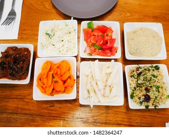7 dishes of Israeli appetizer