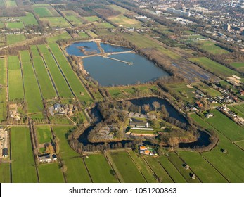 7 Feb 2018, Groenekan, Holland. Aerial view of 'Fort Voordorp'. The fortress was part of the 'Nieuwe Hollandse Waterlinie', part of The 'Stelling van Amsterdam' which is on UNESCO world heritage list.