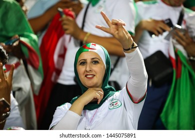 7 July 2019, Egypt, Cairo: Algerian fans during the match of Algeria and Guinea in the 16th round of the 2019 African Nations Cup on June 30 Stadium.