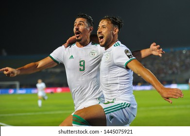7 July 2019, Egypt, Cairo: The Algerian team wins 3-0 in Guinea in the 16th round of the 2019 African Nations Cup on June 30 stadium.