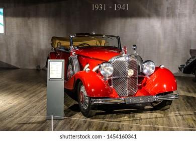 7 July 2019 - Museum EFA Mobile Zeiten in Amerang, Germany: Mercedes Benz 500 Cabriolet B  1935 - 1936. Retro car, oldtimer