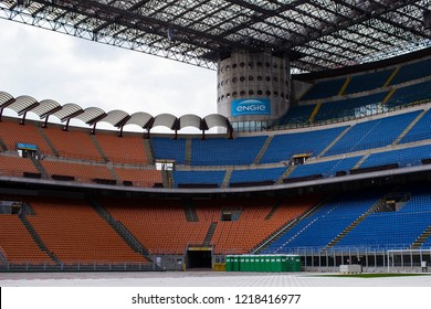 7 JUNE 2018, MILAN, ITALY: Elements of the interior stadium football teams Inter Milan and Milan in the city of San Siro.