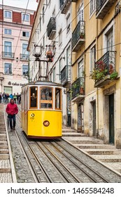 7 March 2018: Lisbon Portugal - The Bica Lift, or Elevador da Bica, in the Misericordia district, a funicular railway line