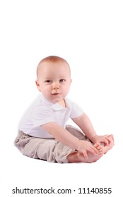 7 Month old Baby Boy Touching His Toes.