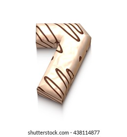 7 number of white chocolate with brown cream in 3d rendered on white background.