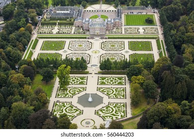 7 Oct. 2016, Apeldoorn, Holland. Aerial view of Royal Palace Het Loo. The castle was built in the 17th century and King and Queen used to live here. Now it's a museum baroque ornamental gardens.