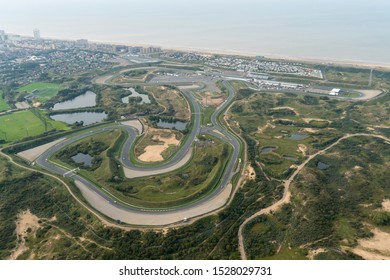 7 October 2019, Zandvoort, Holland. Aerial view of race track Circuit Park Zandvoort with the Northsea. Ground work has started to renovate the speedway to host Grand Prix Formula 1 race.