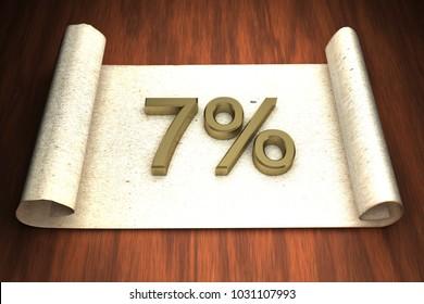 7 per cent, golden numbers, over open paper, 3d rendering